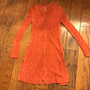 Free People crochet cardigan in coral